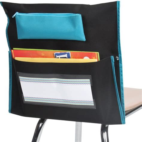 black chair pockets with turquoise piping