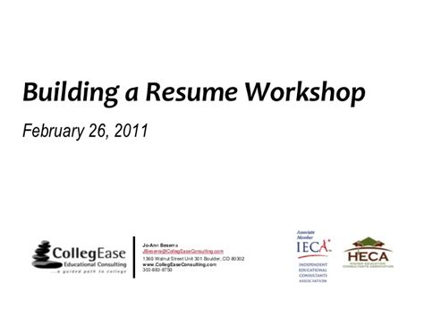 Resume Building Workshop by Building A Resume