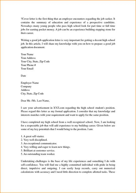 School Cover Letter by Cover Letter Template For High School Students Cover