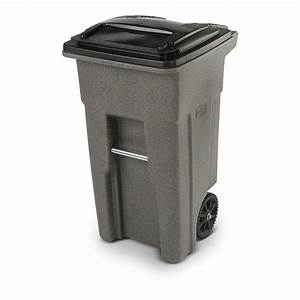 Toter, Trash, Can, Graystone, With, Wheels, And, Lid, 32, Gallon, -, Walmart, Com
