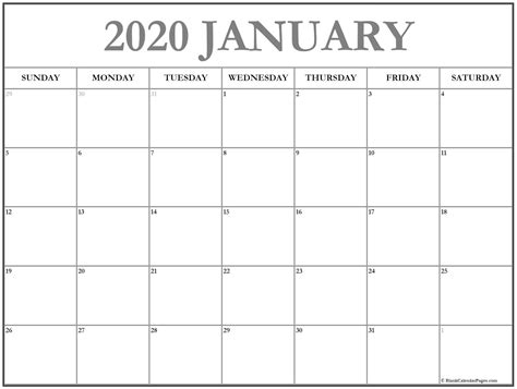 january  calendar  templates   printable