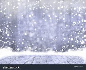Empty Concrete When Snowing Ice Wood Stock Photo 347068202