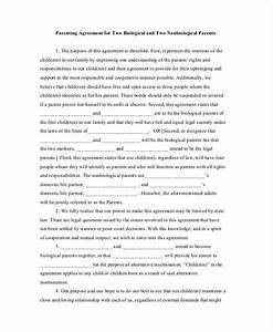 Parenting agreement templates 8 free pdf documents for Co parenting agreement template