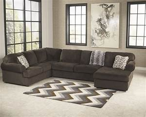 Jessa place chocolate 3 pc raf chaise sectional for Sectional sofas room place