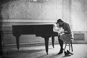 alone, black and white, girl, lonely, music, piano - image ...