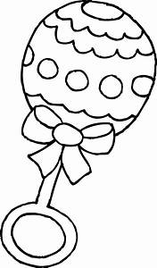 Baby Rattle Coloring Page - Free Clip Art