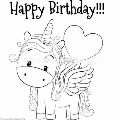 Unicorn Coloring Birthday Pages Happy Colouring Getcoloringpages