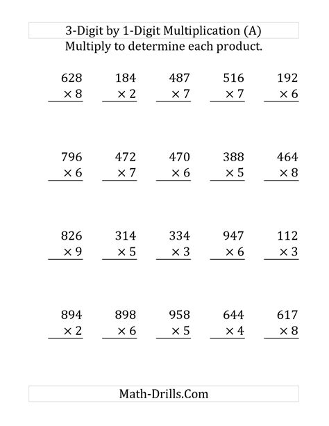 multiplication digits worksheet the multiplying a 3 digit number by a 1 digit number
