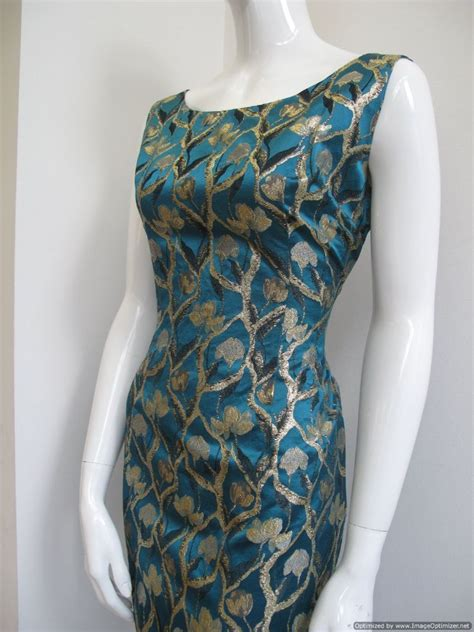teal blue satin brocade vintage cocktail dress sold