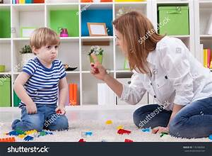 Angry Mother Scolding Disobedient Child Stock Photo ...