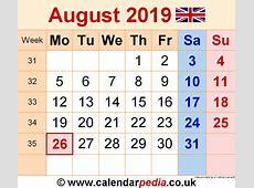 Calendar August 2019 UK, Bank Holidays, ExcelPDFWord