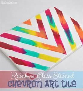 Rainbow Chevron Art Tile Home Decor Craft Handmade Gifts