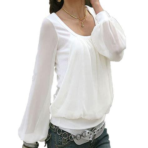 sheer chiffon blouse casual shirt womens sleeve sheer
