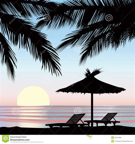 dessin de chaise view at resort seaside background stock