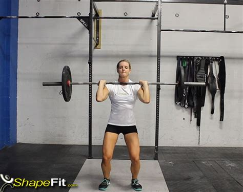 crossfit push press exercise instructions barbell squat front muscle guide burpee box thruster exercises