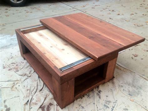 cedar coffee table   sliding top custom builds
