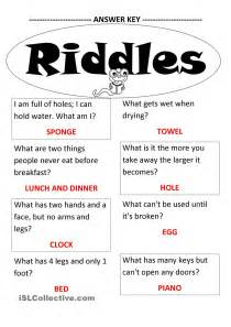 Funny Riddles with Answers Worksheet