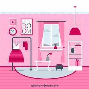 Pink Girls Room Vector Free Download