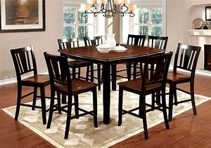 9 Piece Dover Counter Height Dining Set In Black  U0026 Cherry