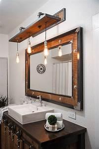 25 rustic style ideas with rustic bathroom vanities wood With barn style vanity lights