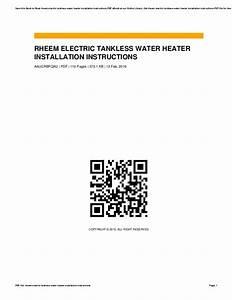 Rheem Tankless Water Heater Installation Diagram
