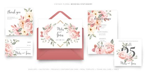 Vintage wedding invitation card template with envelope