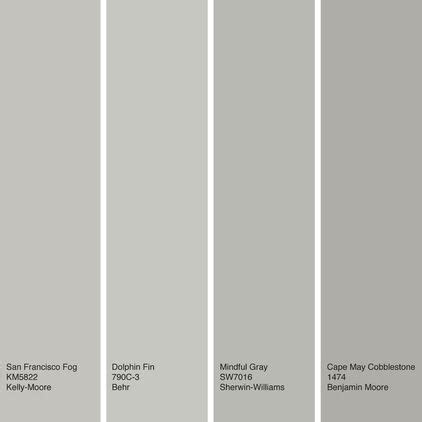 a sling of warm gray paint colors from left to right san francisco fog from