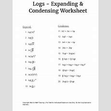 Logs  Expanding & Condensing Worksheet By Mario's Math Tutoring