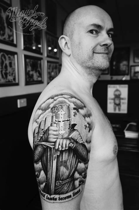 Custom Knight templar tattoo (the owner)   Miguel Angel