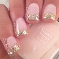 Glitter nail tip designs gold tips design