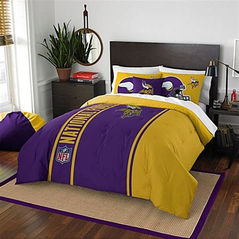nfl minnesota vikings embroidered comforter set bed bath