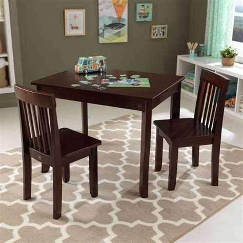 kidkraft avalon desk and chair set kidkraft avalon table ii and 2 chairs set in espresso 26639
