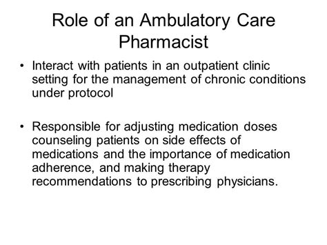 Ambulatory Care Pharmacy by Ambulatory Care Pharmacy Ppt