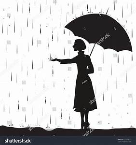 Girl Under Rain Holding Umbrella Touching Stock Vector ...
