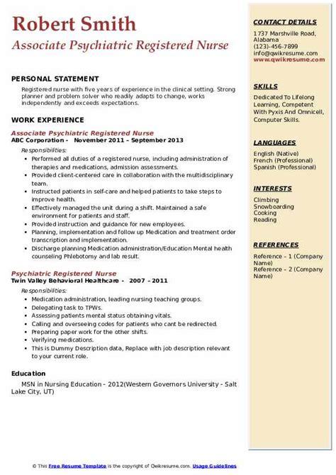 psychiatric registered nurse resume samples qwikresume