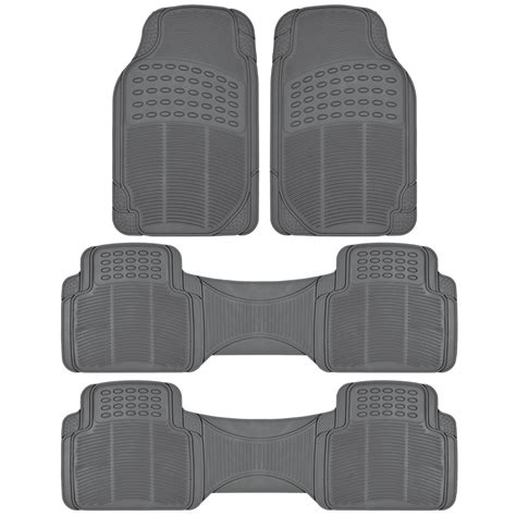 floor mats for suv 3 row suv floor mats all weather rubber protection 4 gray trimmable ebay