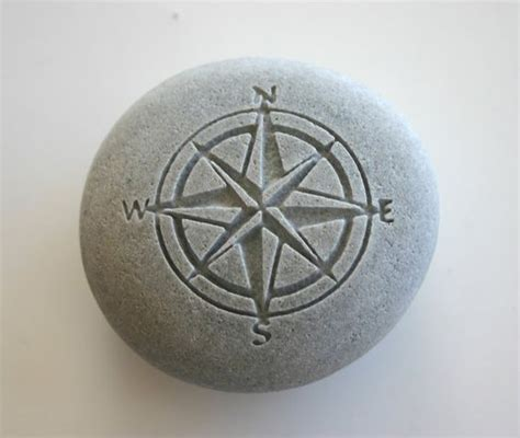 compass rose engraved stone nautical river rock