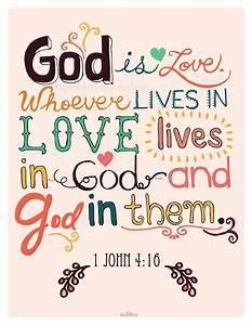 Christian Art Print. 1 John 4:16. God is Love. Bible Verse ...
