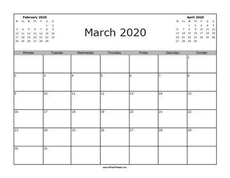 march calendar printable allfreeprintablecom