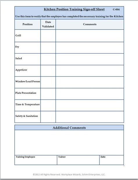 training completion sign off sheet template c 004 kitchen position training sign off sheet big png