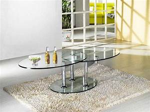 Table Basse 3 Pieds : table basse design twin glass a double plateaux pivotant 3 pieds ~ Teatrodelosmanantiales.com Idées de Décoration
