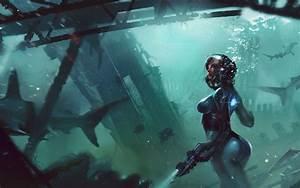 Artwork, Digital, Art, Futuristic, Science, Fiction, Shark, Underwater, Exploration, Diving, Suits
