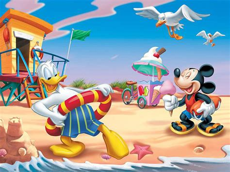 donald duck  mickey mouse summer vacation beach hd