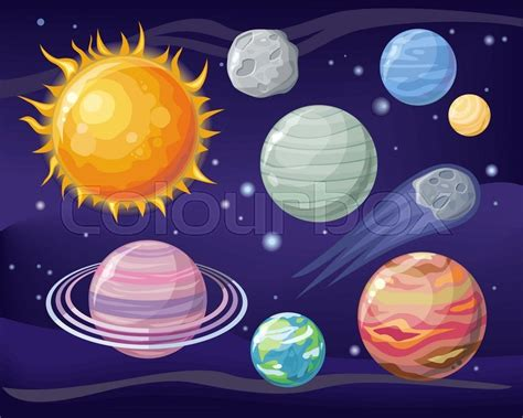 Space With Planet Sun And Star Design ...