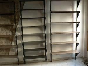 Bibliothèque Profondeur 25 Cm : biblioth ques en metal acier et bois patin ~ Teatrodelosmanantiales.com Idées de Décoration
