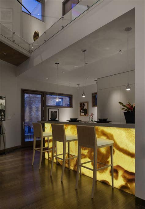 backlit onyx bar front modern kitchen denver