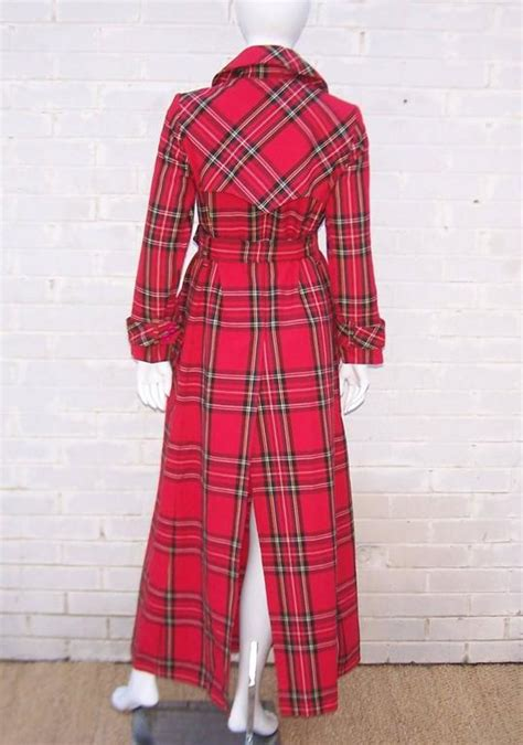 punk  prep  red plaid maxi trench coat  stdibs