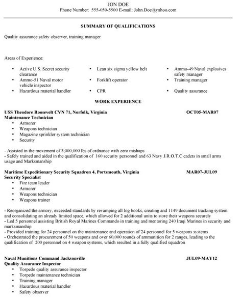 resume exles veterans resume exles