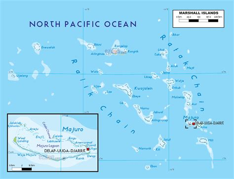 Large physical map of Marshall Islands with other marks ...
