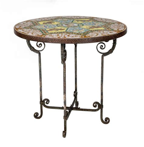 iron end table 1930s bullfighter tiled top and iron table 1930